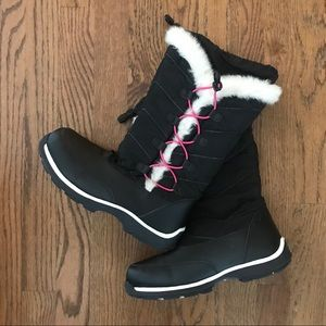 Lands End Girls snow winter boots faux shearling 5